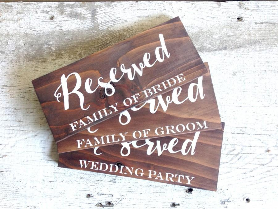 Wooden Wedding Reserved Signs Seating Rustic Sign Ceremony