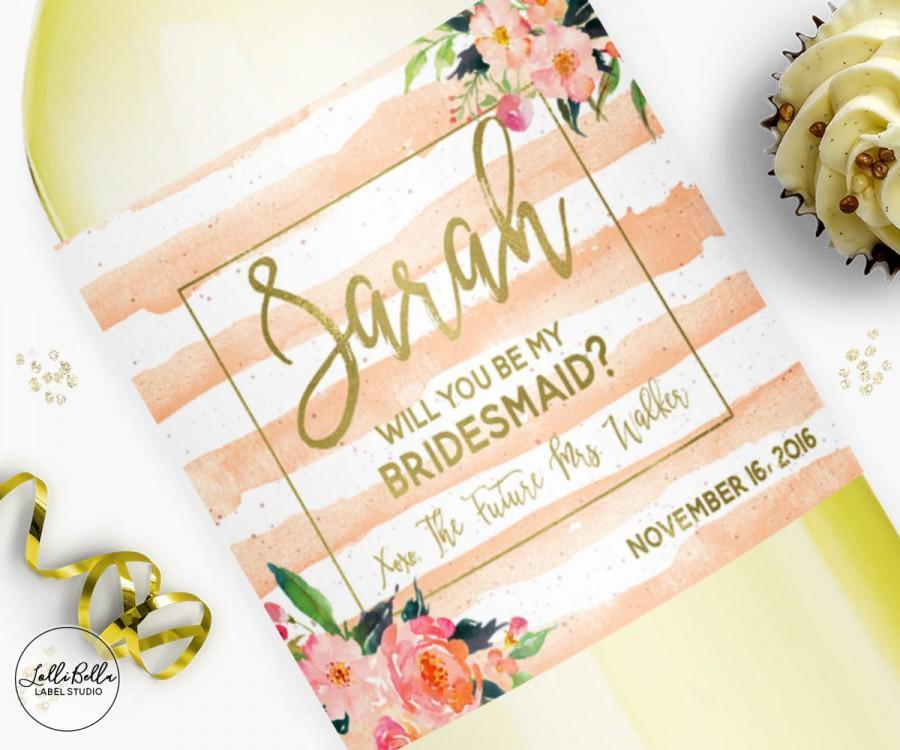 Mariage - Ask Bridesmaids, Wine Label, Bridesmaid Gift Boxes, Champagne label, Bridesmaid Gift, Thank you gift