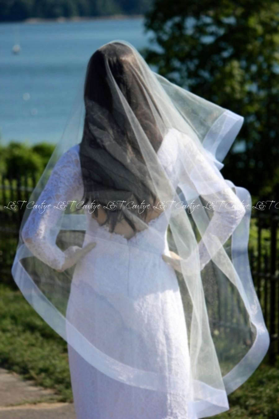 Свадьба - 2 Inch Horsehair Mantilla Cathedral Veil, HorseHair Edge Drop Veil, Wedding Veil, Champagne Veil, Bridal Veil, White Veil, READY TO SHIP
