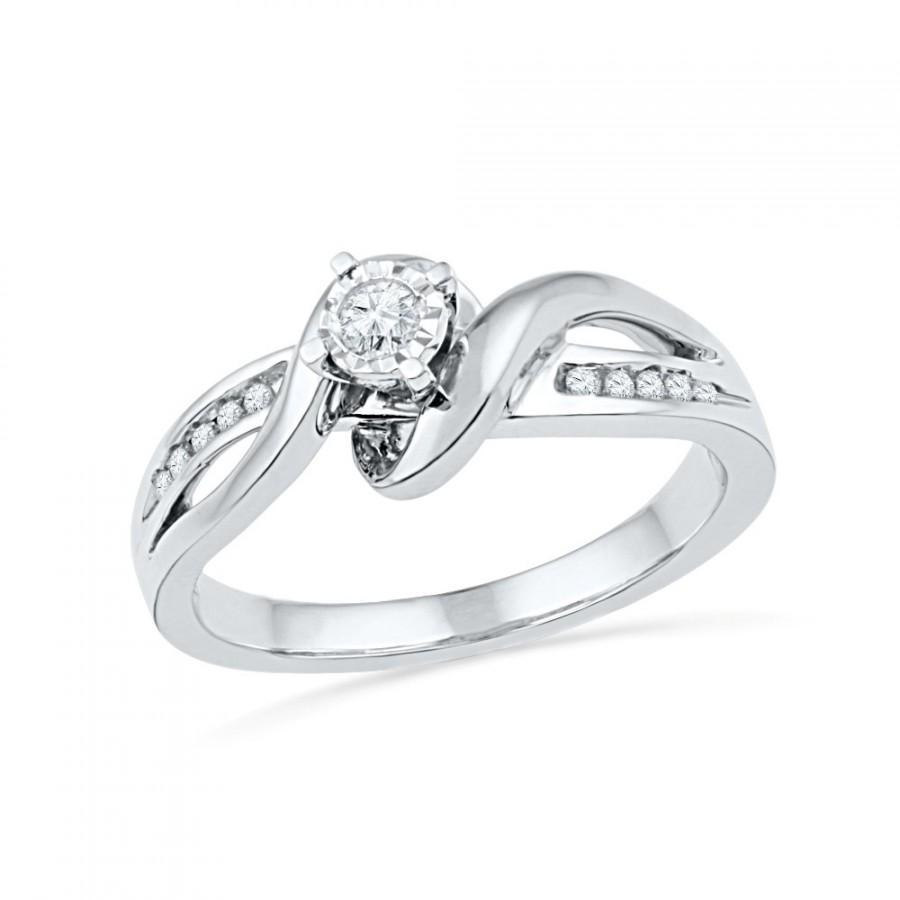 Wedding - Sterling Silver Diamond Promise Ring or White Gold Commitment Ring, Diamond Rings For Women