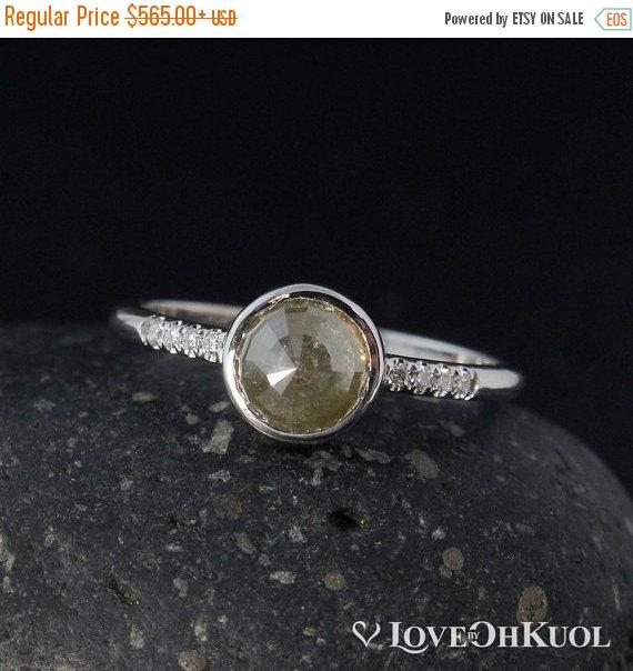 Hochzeit - ON SALE White Gold Grey Diamond Ring - Natural Rose Cut Diamond