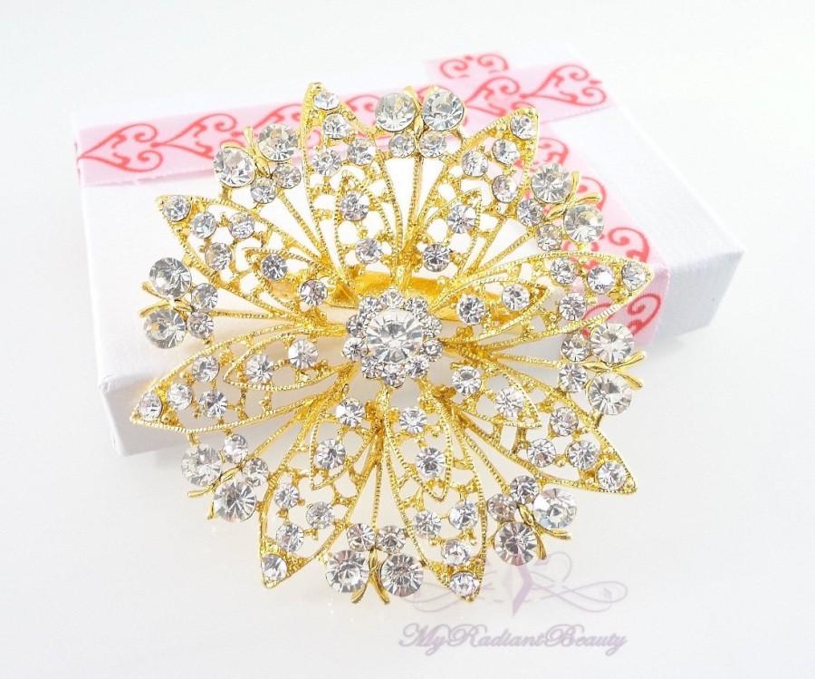 Mariage - Wedding Brooch, Gold Brooch, Bridal Brooch, Butterfly Shiny Rhinestone Brooch, Wedding Jewelry, Crystal Brooch, Vintage Brooch BR0043G