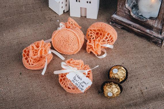 Свадьба - Peach favor bags Peach boho wedding gift bag Sweet thank you bags Boho wedding candy bags Peach favor bag Party favors Peach favors
