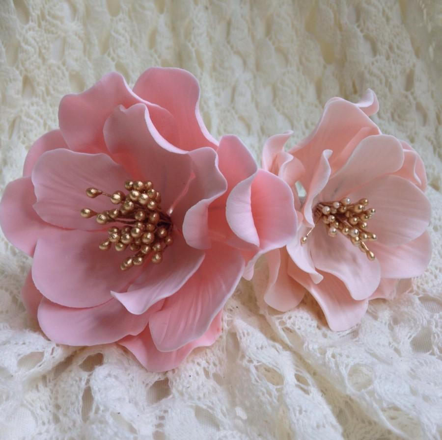 Gumpaste Flowers For Wedding Cakes: Open Rose Sugar Flower In Pink Or Blush With Gold Center