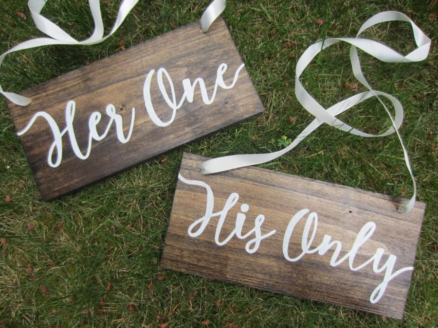 Wooden Wedding Signs.Wedding Chair Signs Rustic Wedding Signs His One Her Only