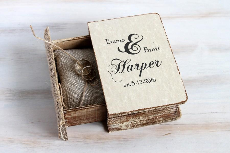 Rustic Wedding Box Personalized Ring Bearer Box Pillow ngagement