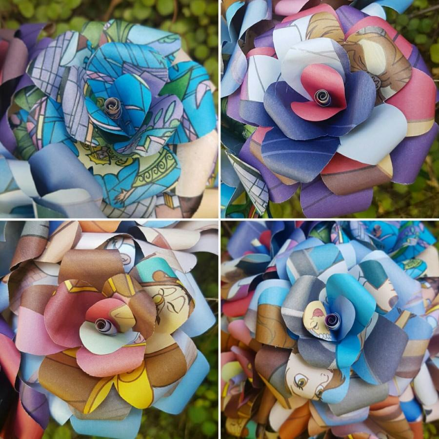 Hochzeit - Beauty and the Beast Book Bouquets-Book lover gift-Book Bouquet-Book decor- Unique Gift- Bridal Bouquet- Paper Roses-Wedding