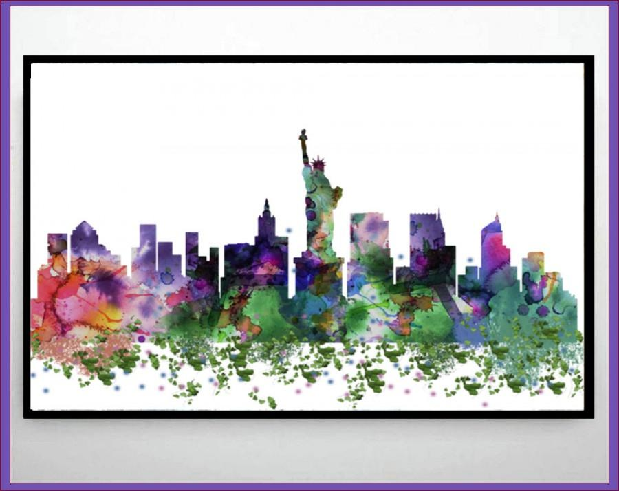 New York Mapbirthday Gift Watercolor Friend Decor Home Art Little CostumeNurseryForKidsPrintWallBirthday