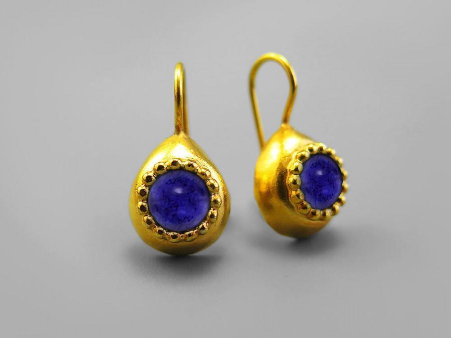 Blue Purple Gold Earrings Violet Jewelry Teardrop Iolite Gemstone Water Shire