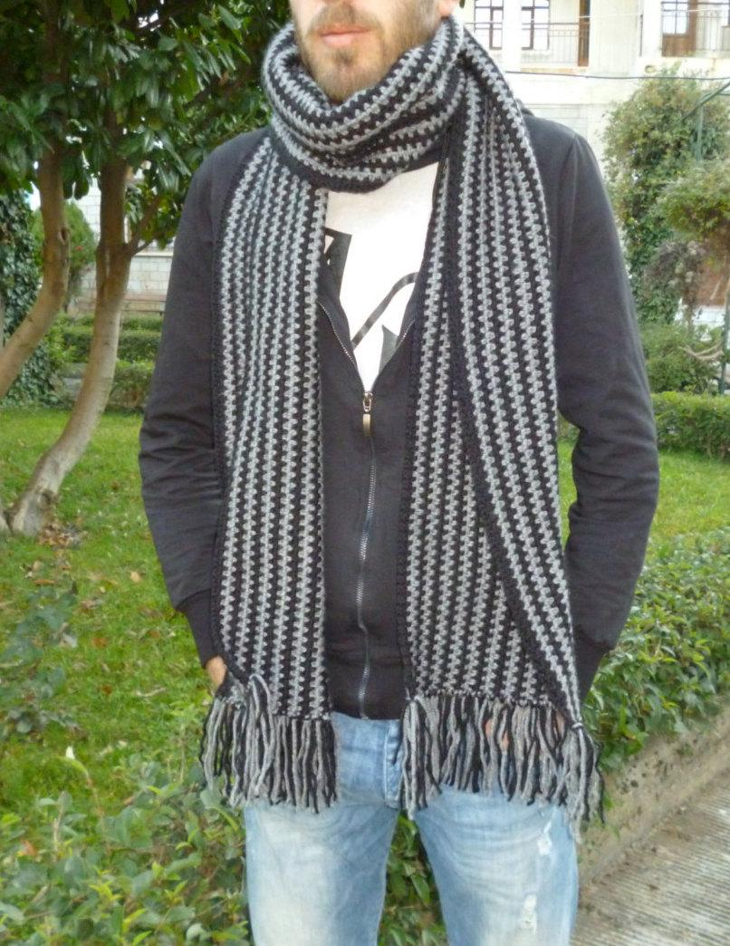 Wedding - Striped scarf/Wool scarf/Knit men scarf/Long scarf/Gift for him/Black gray scarf/Gift for her/Alpaca wool scarf/Fringe scarf/Handmade scarf