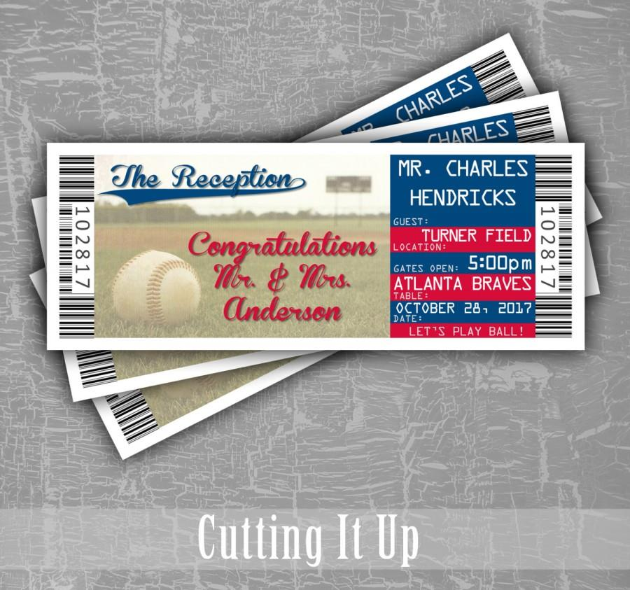 Hochzeit - Baseball Wedding Escort Cards, Seating Cards, Baseball Tickets, Baseball Reception, Ticket Template, Atlanta Braves, Washington Nationals