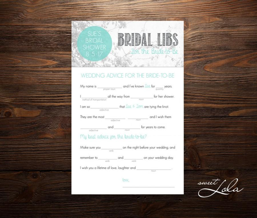 bridal libs digital or printed free shipping bridal shower mad libs bridal shower game