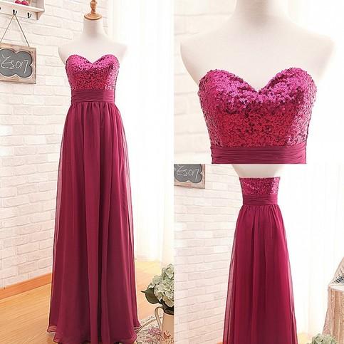 Düğün - Fashion Sweetheart Sequins A-line Long Fuchsia Bridesmaid Dress from Dressywomen