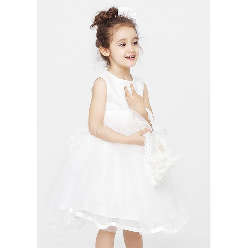 Mariage - Flattering White Princess Jewel With Bowknot Flower Girl Dress - Compelling Wedding Dresses