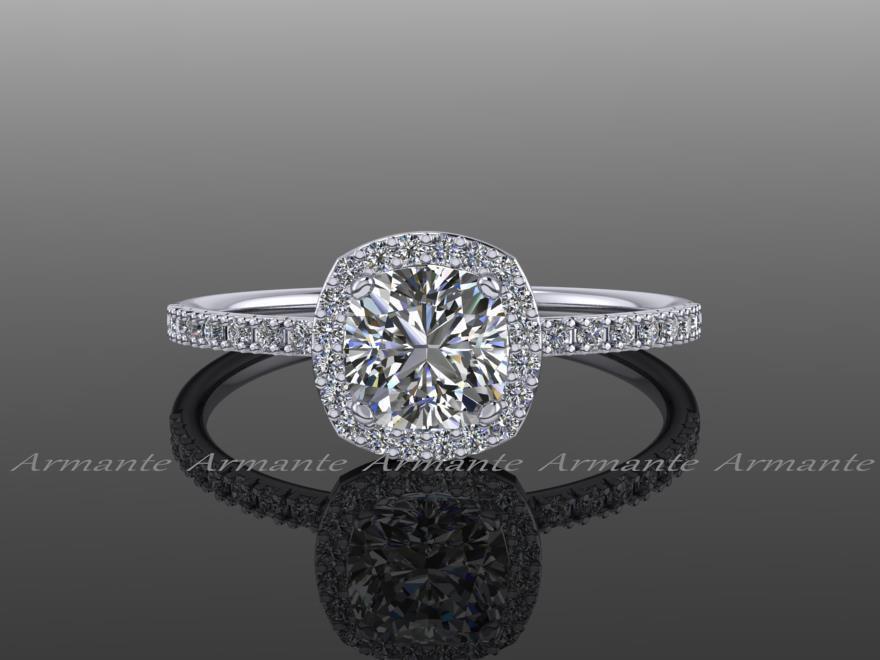 Hochzeit - Forever One Moissanite Halo Diamond Engagement Ring / Cushion Cut 14K White Gold Wedding Ring / Petite Bridal Ring /  RE00082FO