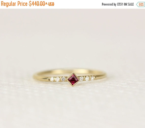 Wedding - HOLIDAY SALE Princess Cut Ruby Engagement Ring In 14k Gold,Thin Simple Engagement Ring,Stacking Gold Ring