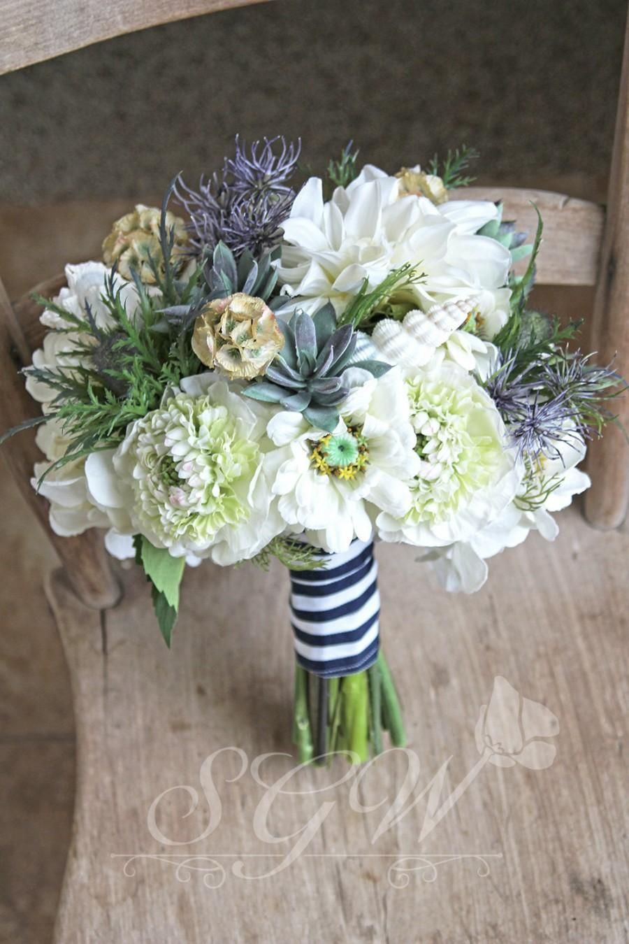 Nautical Seaside Bridal Navy And White Wedding Bouquet 2626640