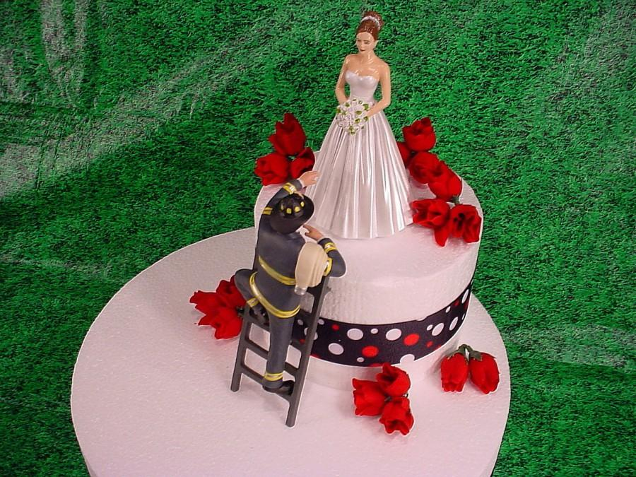 Elegant Bride And Fireman To The Rescue Groom Firefighter Wedding Cake Topper Fire Hot Romantic Couple Personalized Figurines Mr Mrs