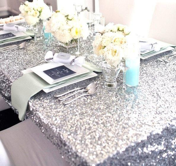 Mariage - Sequin Silver Tablecloth and Overlay Various Sizes