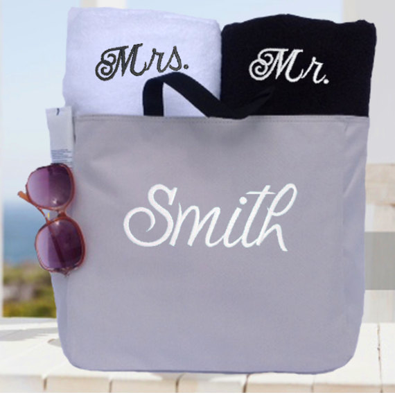 Couples Towel And Tote Gift Set Wedding Gift Bridal Shower His