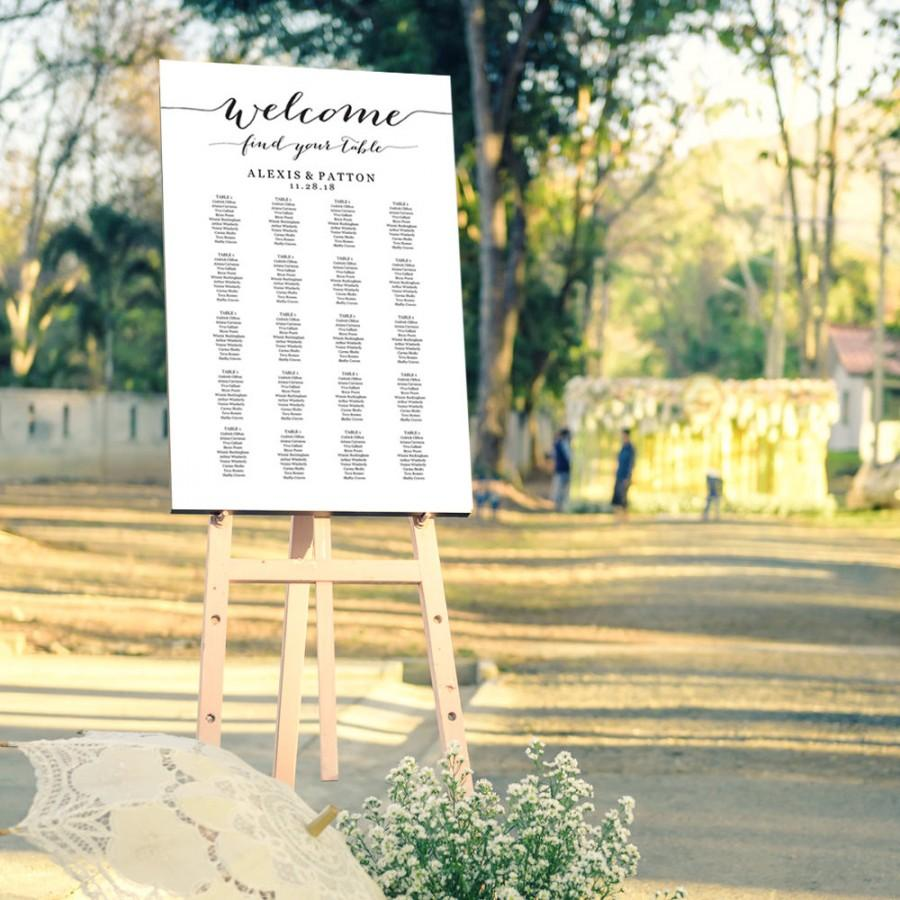 Welcome Wedding Seating Chart Template In FOUR Sizes Find Your – Seating Chart Poster Template