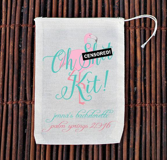 Boda - Oh Sh*t Kit Palm Springs Flamingo Bachelorette Party Hangover Kit- Muslin Cotton Mini Favor Bags