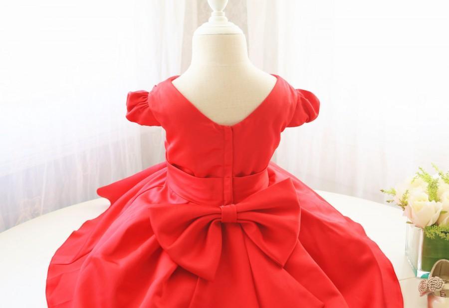 Свадьба - Red Flower Girl Dress for Baby Girls, V-Neck Infant Easter Dress, Toddler Birthday Party Dress, Baby Party Dress, PD105-2