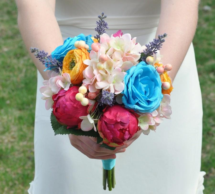 Свадьба - Wedding Bouquet, Keepsake Bouquet, Bridal Bouquet Colorful wedding bouquet made of silk flowers.