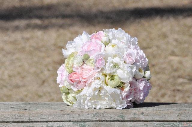 Свадьба - Blush pink, white & green peony wedding bouquet made of silk flowers.