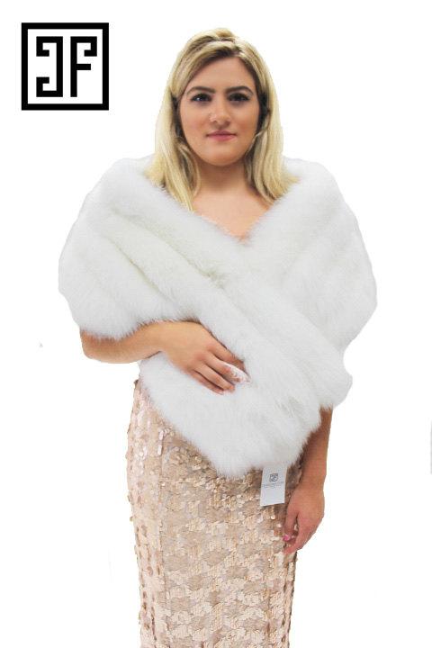 Свадьба - White Fox Fur Wedding Shawl / Stole / Scarf/ Wrap