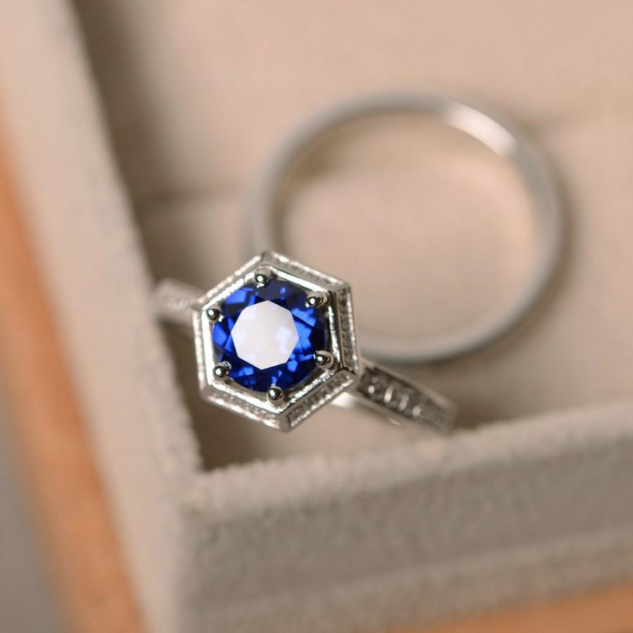 زفاف - Lab sapphire ring, promise, sterling silver, September birthstone, engagement ring