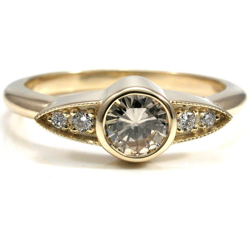 زفاف - Modern Minimalist Art Deco Diamond Ring - Simple Engagement Ring