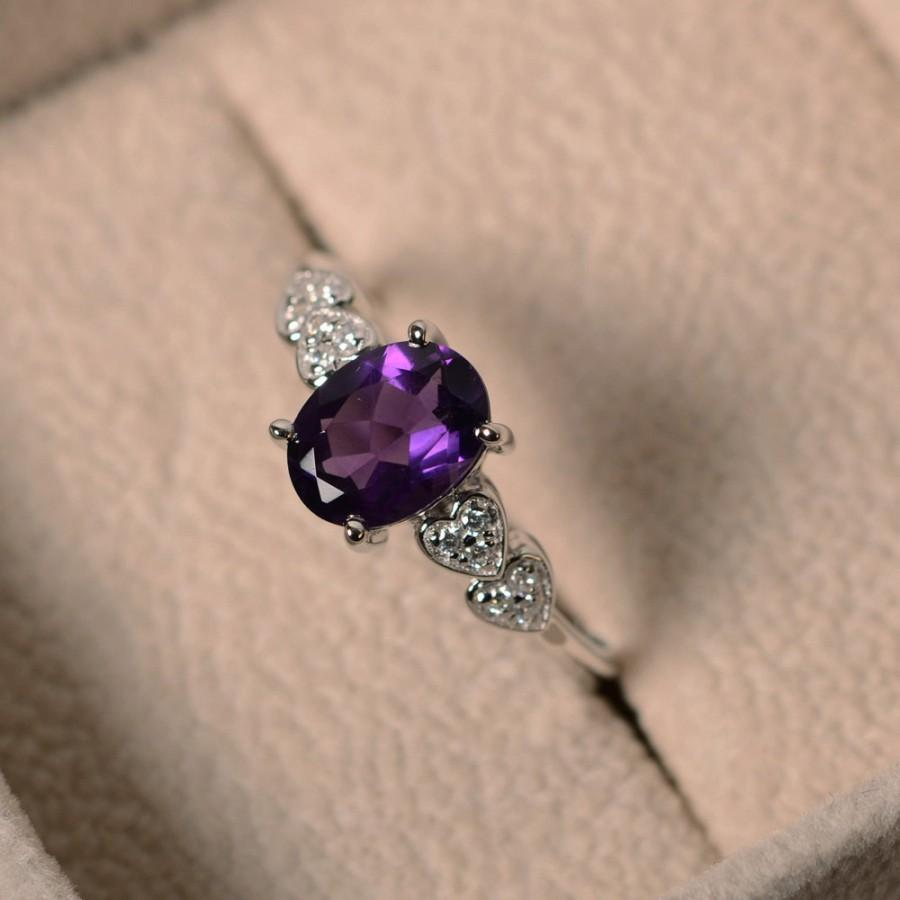 Mariage - Purple amethyst ring, sterling silver, February birthstone, oval cut, engagement ring