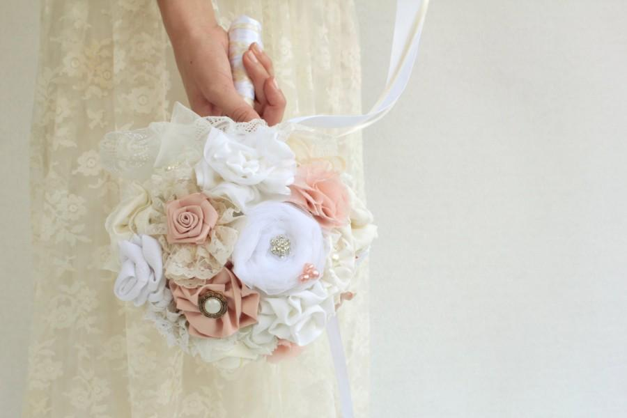 Свадьба - White blush wedding bouquet custom bouquet DEPOSIT