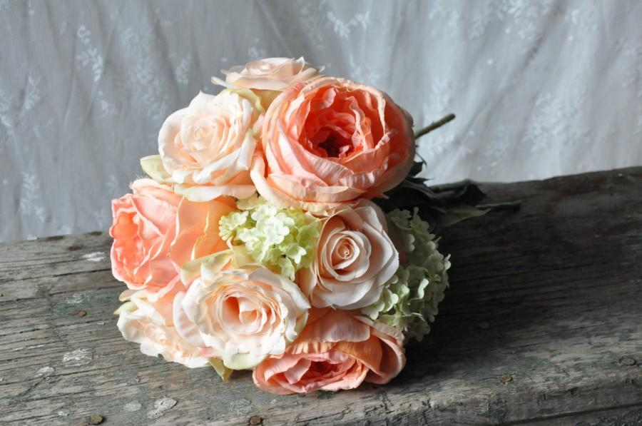 Свадьба - Wedding Bouquet, Wedding Bouquet, Keepsake Bouquet, Bridal Bouquet Coral rose and green hydrangea wedding bouquet by Holly's Flower Shoppe.
