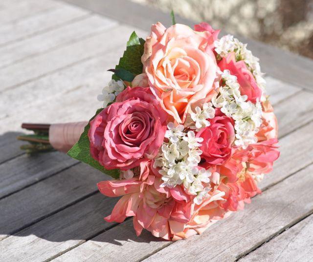Свадьба - Summer Wedding Bouquet, Keepsake Bouquet, Bridal Bouquet made with Coral Rose, Pink Rose, Orange Dahlia silk Silk Wedding Bouquet.
