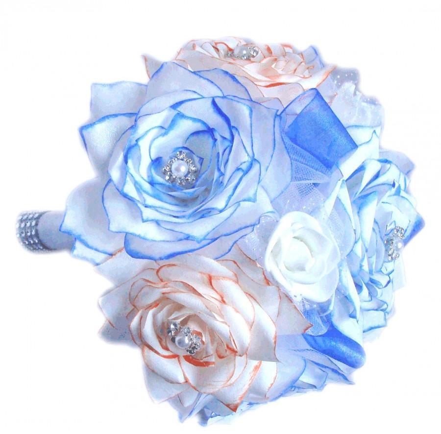 Mariage - Bridal bouquet - Orange & blue paper rose bouquet - 3 sizes to choose - Toss bouquet - Alternative bouquet - Throw bouquet - Wedding bouquet