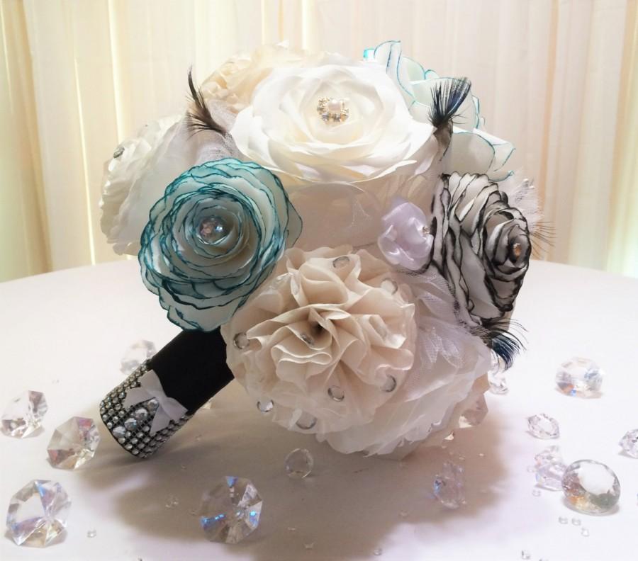 Свадьба - Paper bouquet - Teal & black bouquet - Wedding bouquet alternative - Choose from 3 sizes - Rhinestone bouquet - Coffee filter paper bouquet