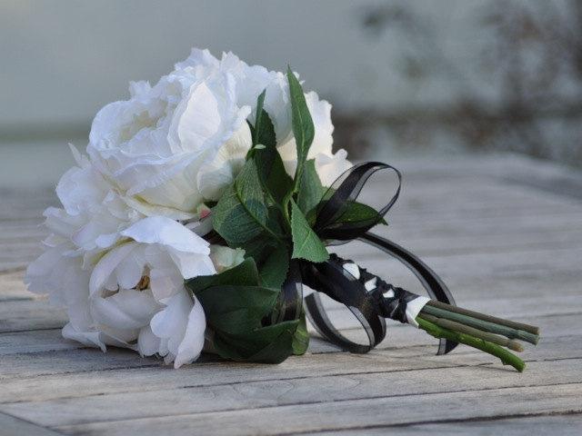 Свадьба - Silk Wedding Bouquet, Wedding Bouquet, Keepsake, Bridal Bouquet, Silk Wedding Bouquet, Wedding Bouquet, Ivory Peony Bouquet.