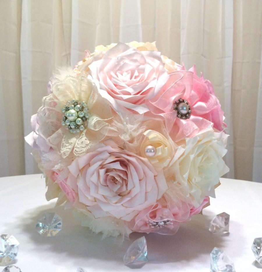 Brooch Bouquet With Matching Boutonniere And Toss Bouquet Paper