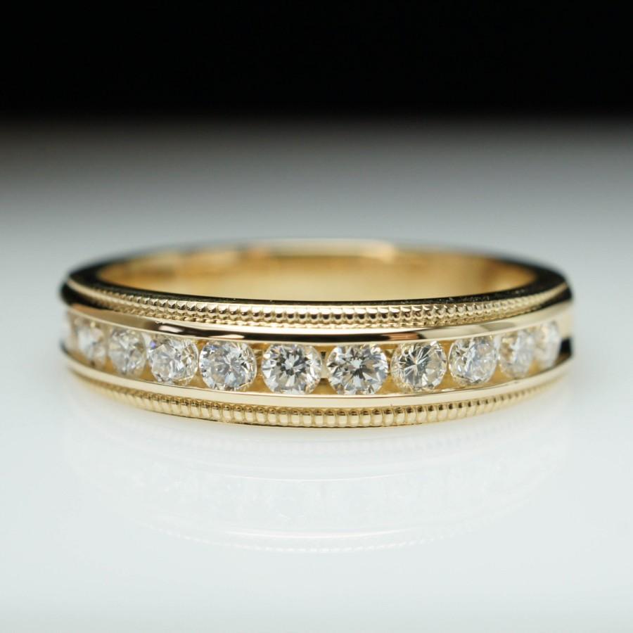 Mariage - HOLIDAY SALE - Vintage .45ctw Natural Diamond Wedding Band Anniversary Ring Milgrain Edge Accent