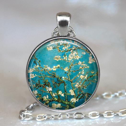 Mariage - Van Gogh Almond Branch in Bloom necklace, Van Gogh art pendant, Van Gogh art necklace, Van Gogh keychain key chain key fob