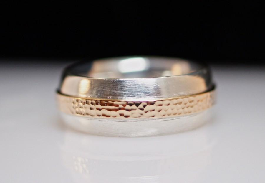 Mariage - Mens Sterling Silver and Copper Wedding Band Ring - Size 8