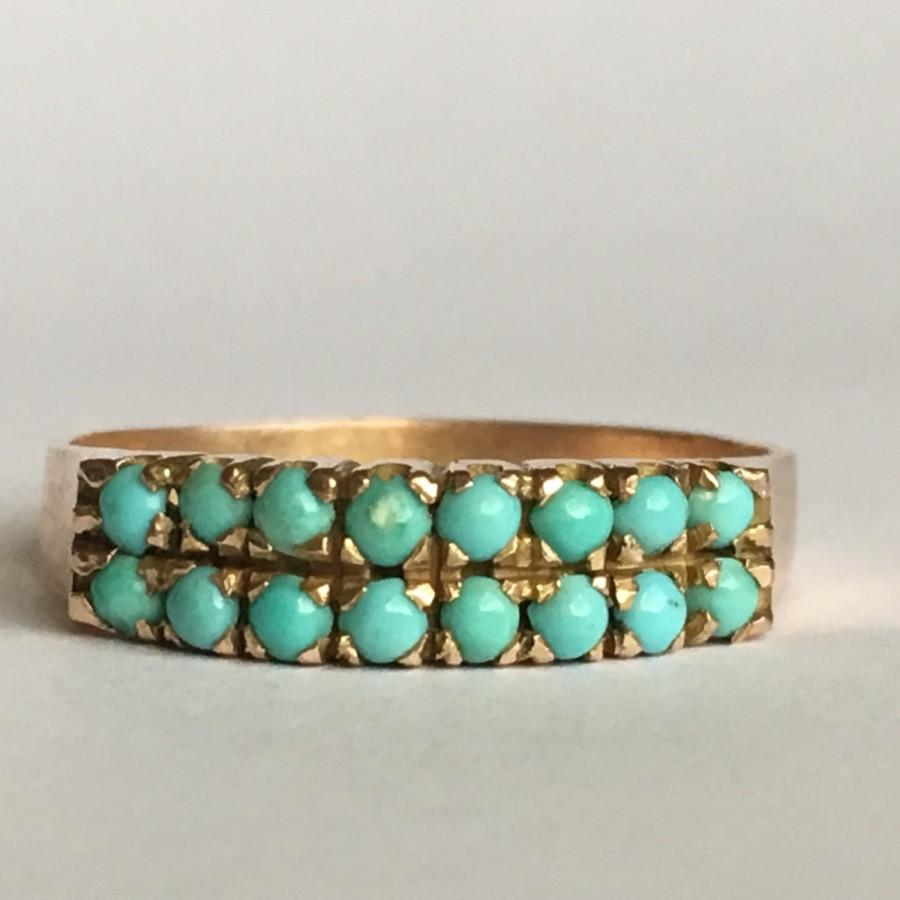 Wedding - Vintage Turquoise Ring. Turquoise Cluster Band. 10K Yellow Gold. Unique Wedding Band. Estate Jewelry.  December Birthstone. 11th Anniversary
