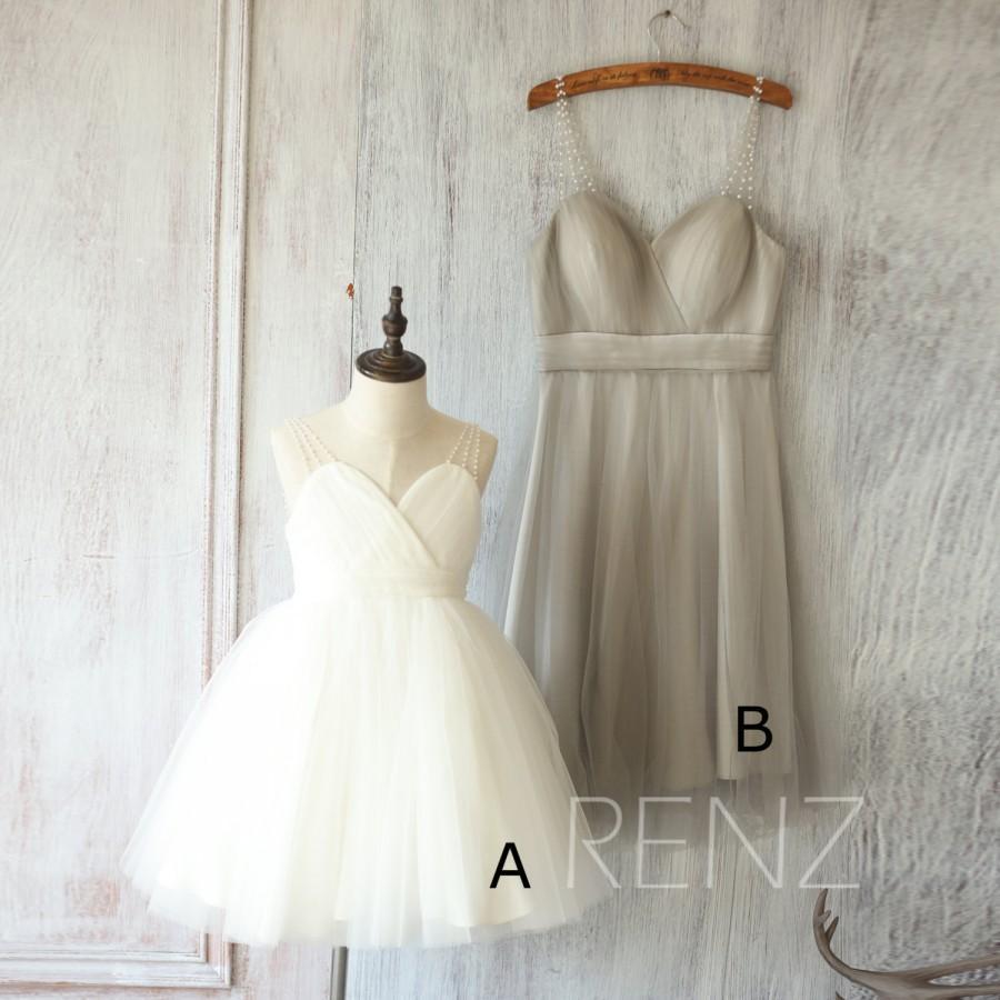 Mariage - 2016 Mix and Match Bridesmaid dress, Short White Flower Girl dress, Baby Puffy dress Tutu, Beading Strap Mesh Cocktail dress (FK315/FS250)