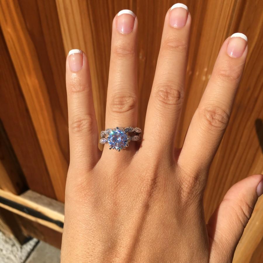 Mariage - Large round diamond engagement ring set, wedding ring, promise ring, simulated diamond 2.6 carat center flawless art deco, vintage ring