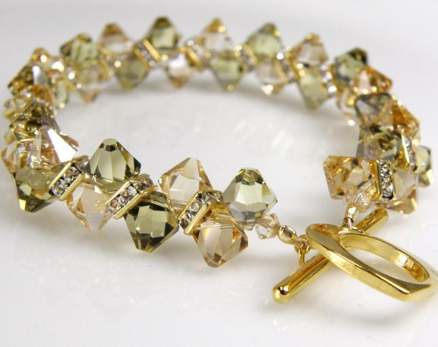 Champagne Crystal Tennis Bracelet Yellow Citrine And Peridot Green Swarovski Crystals Gold Rhinestone Beaded Formal Wedding Gift
