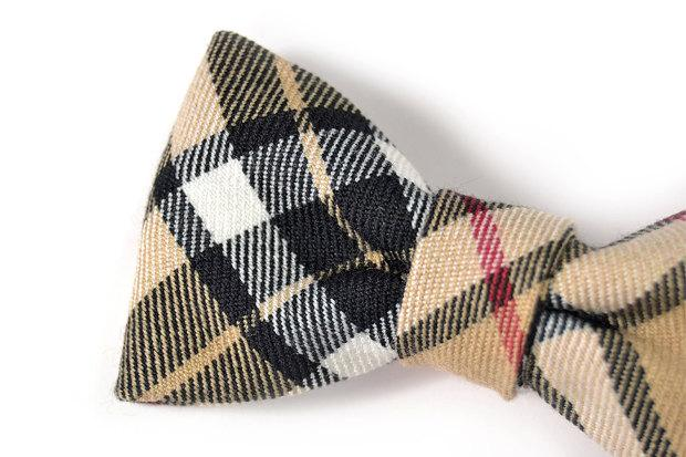 Mariage - Men College black and beige plaid bowtie - Baby, toddler boys tie  Kids Clip-On Bow Tie