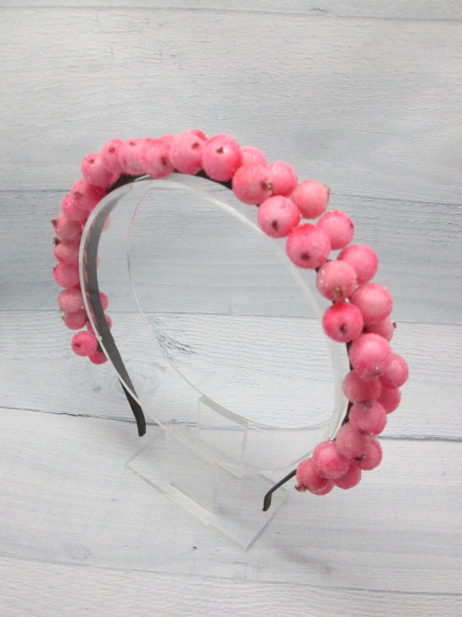 Свадьба - Hair pink crown Berry crown Pink crown headband Pink girl crown Hair pink jewelry Baby pink crown Festival tiara Christmas berries Unique