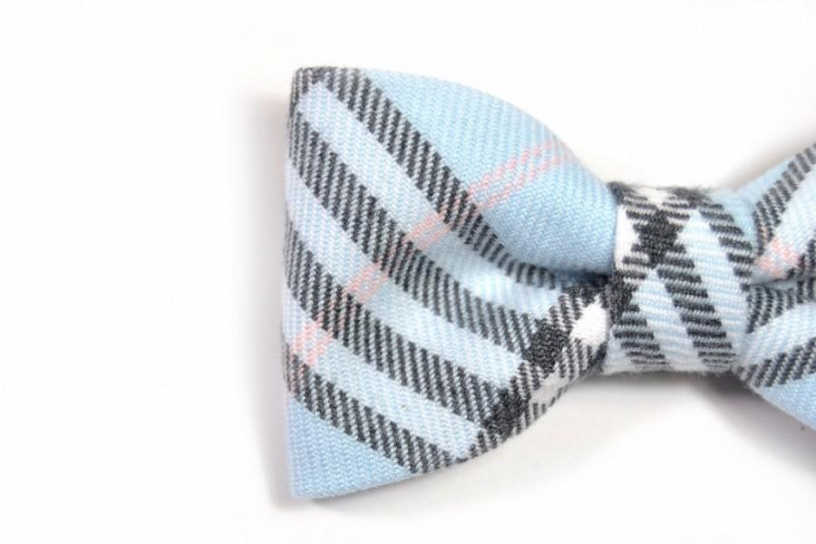 Mariage - Men College blue black pink plaid bowtie - Baby, toddler boys tie  Kids Clip-On Bow Tie